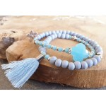 Wrap-armband Facet Aquamarine Blue Fog