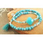 Wrap-armband Facet  Light Blue Zirkon Turquoise Opal