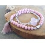 Wrap-armband Facet  Pink Albaster