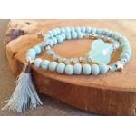 Wrap-armband Facet  Pastel Turquoise en Mint