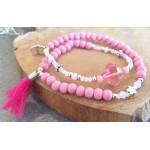 Wrap-armband Facet  Salmon Pink