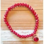 Facet-Armband Garnet Red Rosé Goud