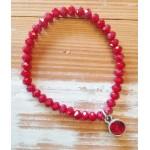 Facet-Armband Garnet Red Zilver