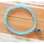 Facet-Armband Aqua Blauw Rosé Goud