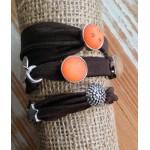 Wikkelarmband Ibiza  Bruin & Oranje
